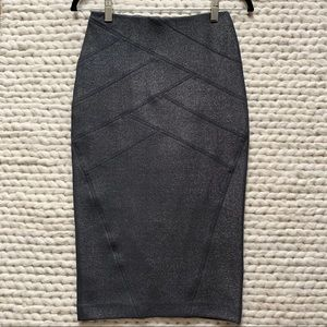 EXPRESS Grey Metallic High-waisted Pencil Skirt